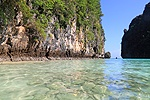 Limestone cliffs and tropical beach. Koh Phi Phi, Thailand