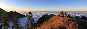 Rinjani crater rim at sunset