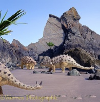 Scolosaurus on Marloes sandy beach 3D R