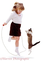 Skipping girl and Cat