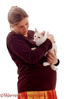 Pregnant lady holding a cat