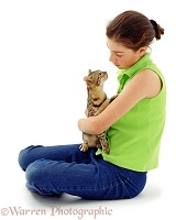 Girl with Bengal kitten
