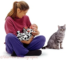 Mother and baby with silver tabby cat