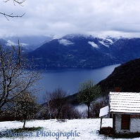 Lake and snow in Italy
