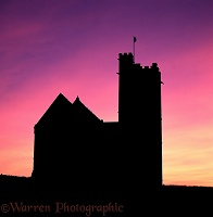 Lundy church at sunset