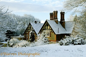 Warren House in the snow