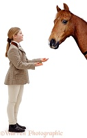 Girl giving carrots to horse