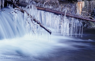 Waterfall with icicles