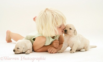 Girl with Golden Retriever pups