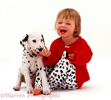 Girl with Dalmatian puppy