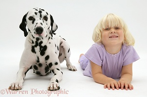 Little girl and Dalmatian