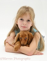 Girl with Dachshund pup