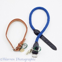 Leather and plaited rope dog collars