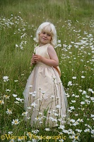 Little girl with Ox-eye Daisies