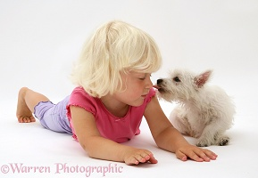 Little girl with Westie pup