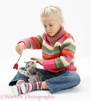 Girl with tabby kitten