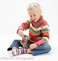 Girl with silver tabby kitten