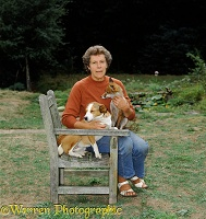 Jane Burton with fox and dog