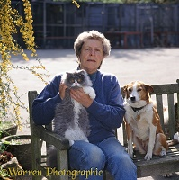 Jane Burton with cat and dog