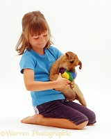 Girl with terrier-cross pup