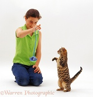 Girl with Brown Bengal kitten