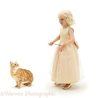 Girl with ginger cat