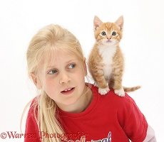 Girl with ginger kitten, 7 weeks old, on her shoulder