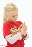 Girl with ginger kitten