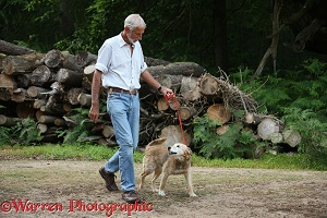 Man walking an older dog