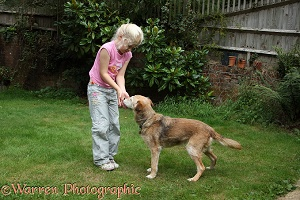 Girl showing a dog her hands are empty