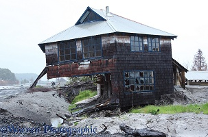 House, wrecked by volcanic ash