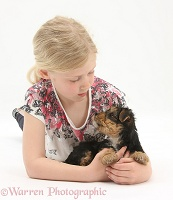 Girl with Yorkie-cross pup