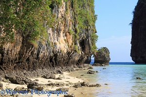 Limestone cliffs and tropical beach