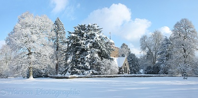 Albury Saxon church with snow