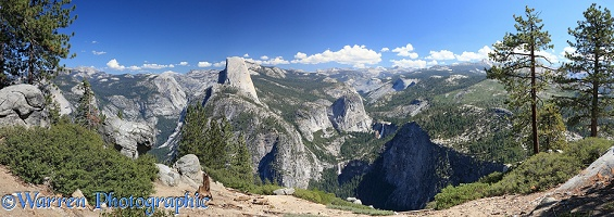 Panoramic view of Half Dome and Vernal Falls