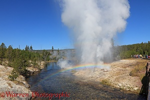 Mortar Geyser erupting and making a rainbow