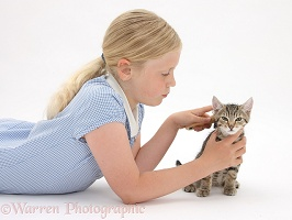 Girl grooming a tabby kitten with a soft brush