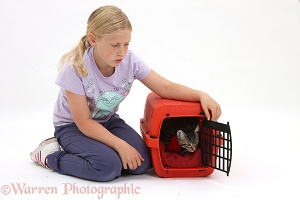 Girl with tabby kitten in a carrier