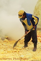 Men working the sulphur mine at Kawah Ijen