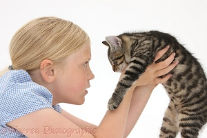 Girl face-to-face with a tabby kitten