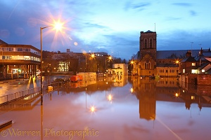 Flooding in Guildford at night