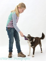 Girl playing with mongrel dog