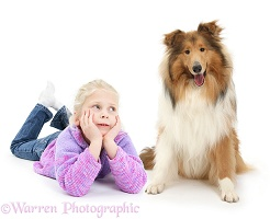 Girl looking lovingly at Rough Collie dog