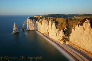 Chalk cliffs arches and stacks