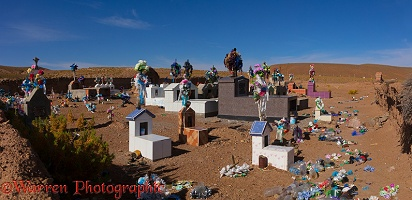 Rubbish-strewn small town grave yard, Bolivia