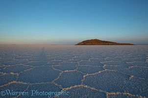 Polygon formations on surface of Salar de Uyuni Salt Pan
