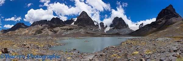 Mountains and glacial lake panorama, Bolivia