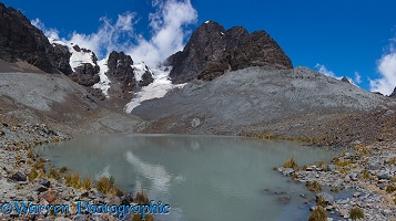 Mountains and glacial lake, Bolivia