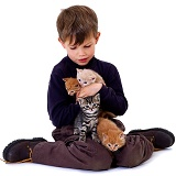 Boy with kittens