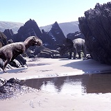 Triceratops in Beach scene 3D R